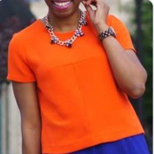 J Crew orange short sleeve blouse